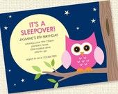 Night Owl Girl Sleepover Birthday Party Invitation Personalized Printable Custom (Digital File)