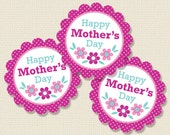 Mother's Day Cupcake Toppers or Party Circles Printable (Digital File)