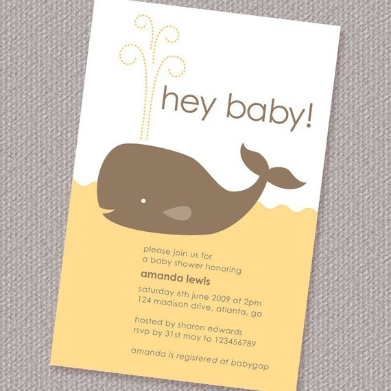 happy whale neutral baby shower invitation printable personalized