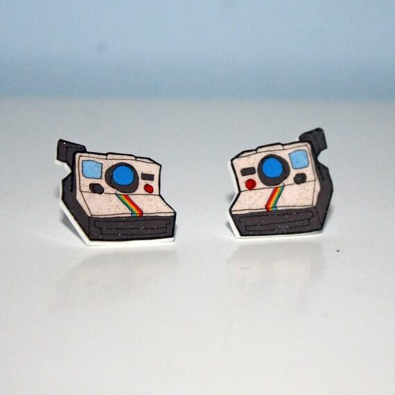 polaroid camera stud earrings