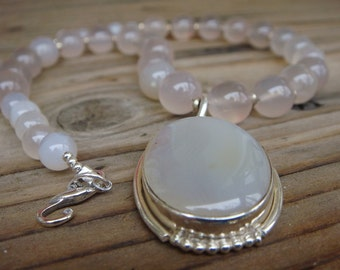 Pink Chalcedony and Moonstone Necklace