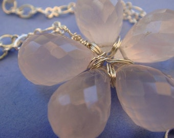 Pink Chalcedony Flower Necklace