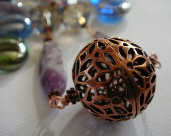 Copper Sphere Necklace by EmKay Designs