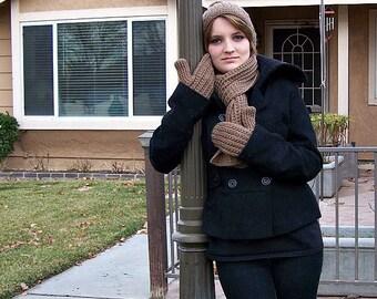 brown knit winter wear set
