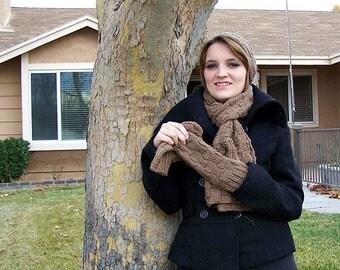 brown, square-knit winter wear set