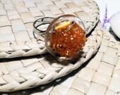 Autumn Orange Ring Bead Glass Adjustable Silver Sterling Band - UK Seller