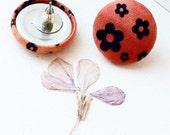 Flower Button Earrings Burnt Orange Black Flowers Beautiful 7/8 inch (23mm) Button Fabric Cover Buttons hand dyed cotton
