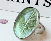 Leaf Skeleton Ring Delicate Spring Green with Yellow leaf Oval cabochon - Handmade in the UK
