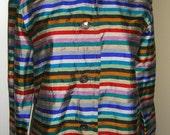 Silk Striped Blouse Rainbow Colors Vintage Chicos Design Small Medium 0