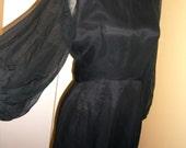 Madmen 50's Dress Silk Organza Chiffon Fitted Small 4-6