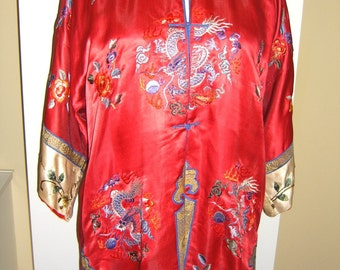 Vintage Asian Embroidered Silk Jacket Robe Dragons Flowers Floral