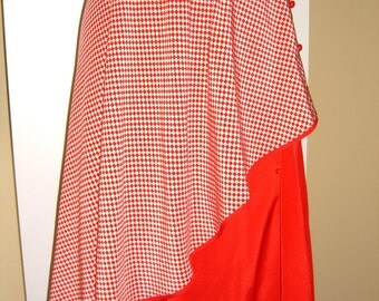 Vintage Valentino Silk Skirt Double Layer Gingham 50's style Couture