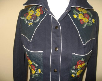 Vintage Roncelli 70's Leather Hand Painted Western Shirt