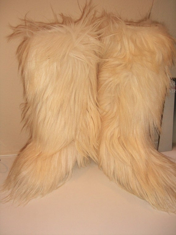 Vintage Goat Hair Apres Ski Boots High Furry Boots Nordica