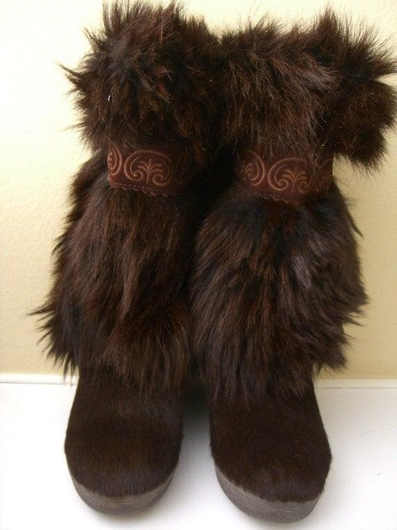 Reserved Vintage Tecnica Fur Boots Apres Ski Boots After Ski