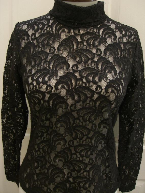 Vintage Lace Turtleneck See Thru Top Long Sleeve By Owlvintage