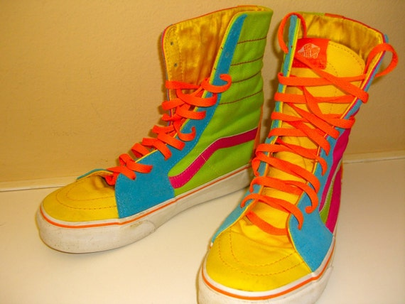 Vintage Off The Wall Vans Rainbow Multi Color High Top Shoes