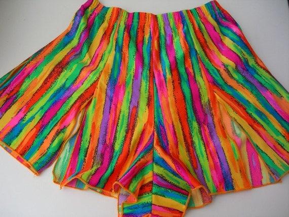 Hot Pants Shorts Stripes Rainbow Bright Disco Daisy Dukes Small