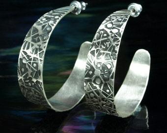 Hoop Earrings w/post- Cosmic Web