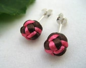 Sterling Knotted Post Earrings - Brown, Pink