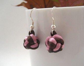 Knotted Drop Earrings - Pink, Brown