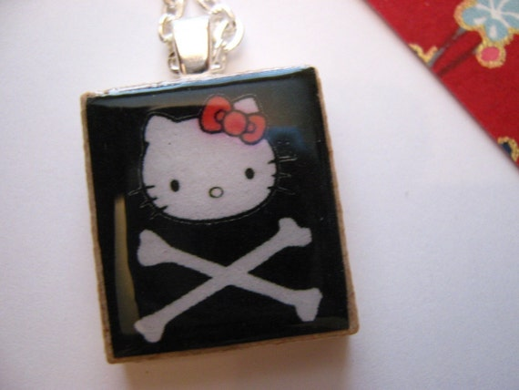 DANGER KITTY Pendant (Black) -- Scrabble Tile Pendant