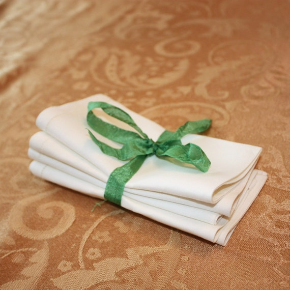 Set of 5 Vintage Pure White Irish Linen Napkins
