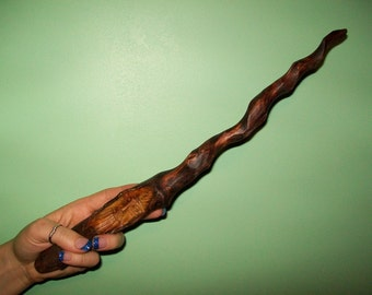 Wood spirit spiral wand