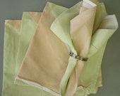 Set of Four Hand Painted Cotton Dinner Napkins