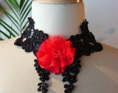 CHIC lace choker STEAMPUNK noir Victoriana black and red