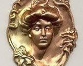Gibson Girl brass stamping large and Lovely  art nouveau Steampunk vintagG
