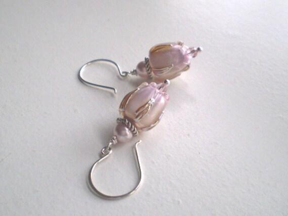 Pale Pink TULIP LAMPWORK Earrings