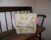 Hand Painted Potato and Leaf Print Messenger Bag