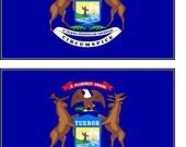 2 Michigan State Flag Stickers Decal Stocking Stuffer window laptop phone auto boat locker wall