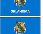 2 Oklahoma  State Flag Stickers Decal Stocking Stuffer window laptop phone auto boat locker wall