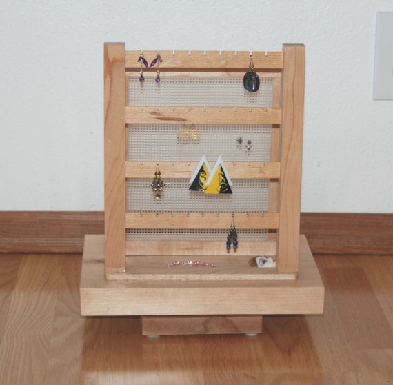Maple Earring Display and Storage - Double - Spinning base 10169