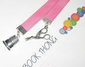 Ribbon Bookmark Thong - Sewing Theme - Pink