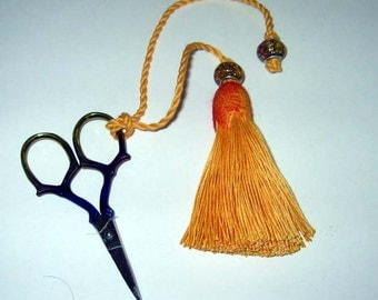 Maize Yellow Tassel  Fob  -  Matching Embroidery Scissors - OOAK - Sewing Accessory - Hand dyed Coccoon - Sewing Gift - Gift for Quilter