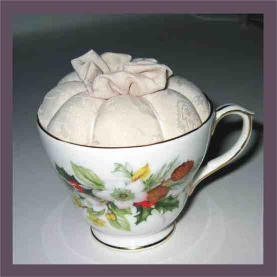 Teacup Pincushion - Bone China - Natural White Silk