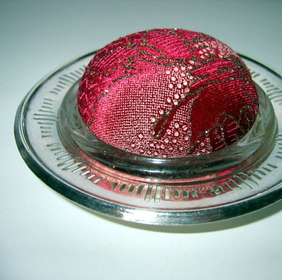 Red Velvet Pincushion - Glittery, Glamorous - Silverplated and Glass Base - Decorative Sewing Pins