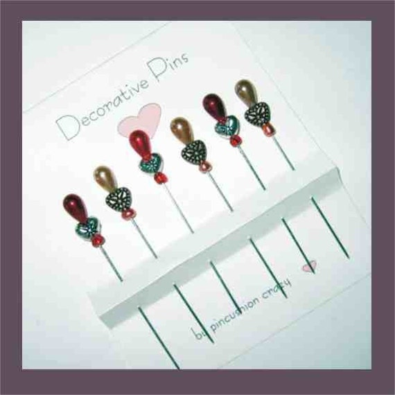 Heart Sewing Pins - Set of 6 - Pincushion Glitz
