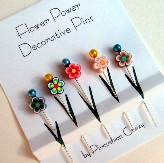 Decorative Sewing Pins - Embellishment Pins - Flower Sewing Pins - Flower Power - Flower Pins - Sewing Supplies - Gift for Sewers Quilters