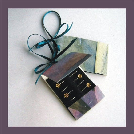 Decorative Straight Pins -  Two Gift Tags - Watercolour Packaging