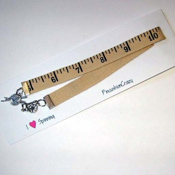 Tape Measure Ribbon Bookmark - I Heart Spinning -Textile Theme Bookmark - Gift for Spinner - Inch Tape Bookmark - Tape Measure Theme