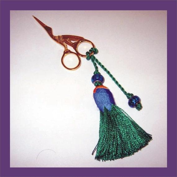 Green Tassel  Fob  - with Stork Embroidery Scissors - OOAK