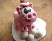 RESERVED LISTING Christmas Cyclops Pig Monster miniature terrarium figurine Santa Piggyclops
