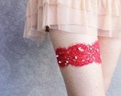 Reserved for Sameer - Red Lace Garter - Limited Edition - Scarlet