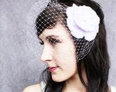 Birdcage Veil and Feather Flower Fascinator - Veiled Holly