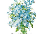 Shabby Vintage Style Forget-Me-Nots Chic 16 Decals De-VF-126