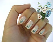 Very Chic Klein Shabby Victorian Blue White Boutique Roses Nail Art Waterslide Water Nail Decals Miniature - fw-015